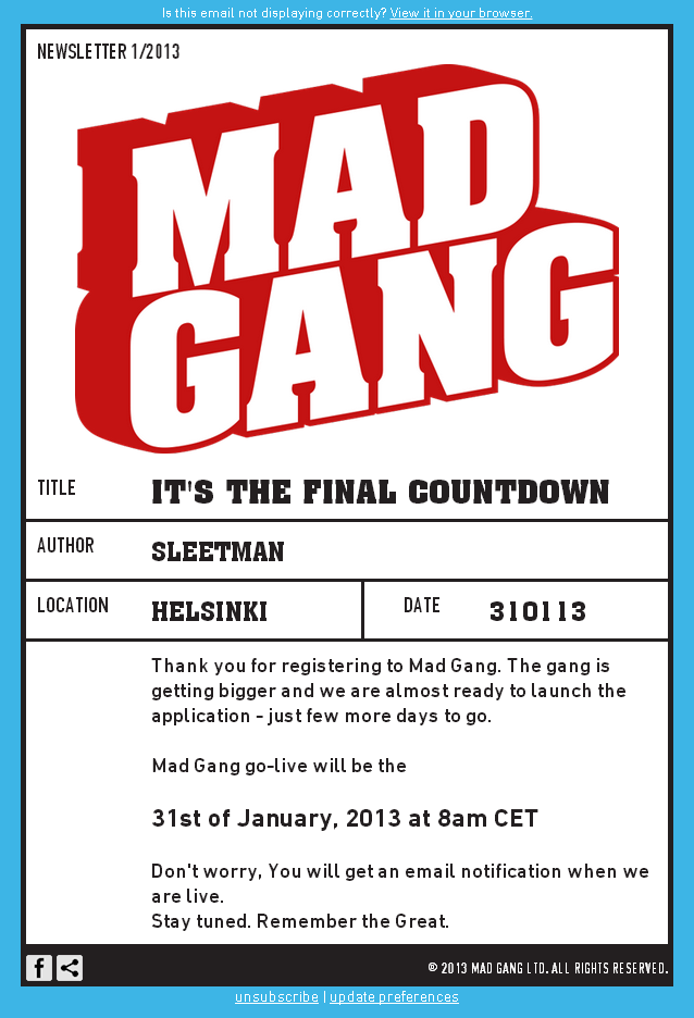 Mad Gang Email template