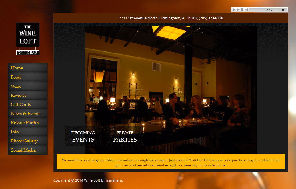 Wine Loft Birmingham  Site screenshot